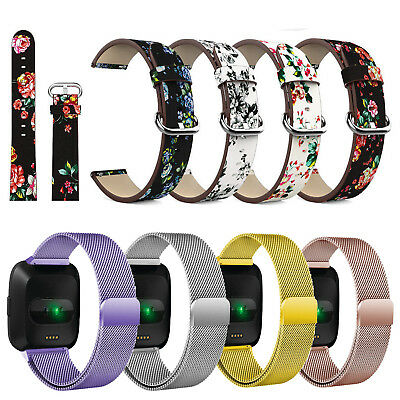 Milanese Loop Magnetic / Leather Wrist Band Strap For Fitbit Versa /Versa Lite
