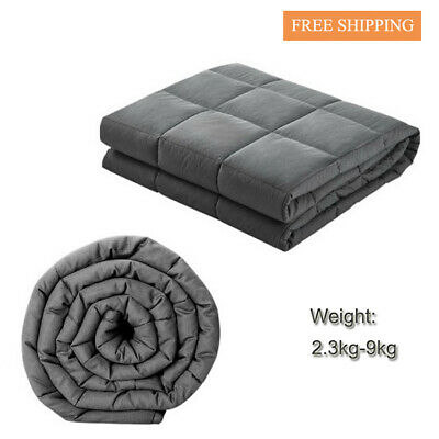 Giselle Bedding Cotton Weighted Blanket Heavy Gravity Deep Relax Dark Grey