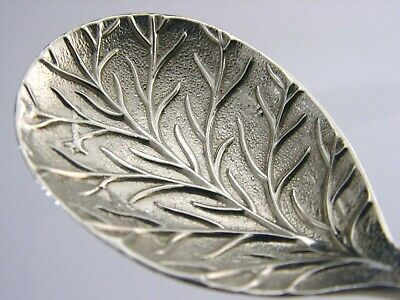 Edwardian Sterling Silver Lilly Pattern Leaf Tea Caddy Spoon 1910 Antique Rare