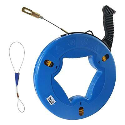 Fiber Glass Fish Tape Reel Puller 30M(100ft) Fiberglass Wall line Wire Cable