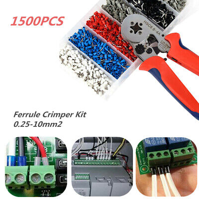 1500PCS / Kit Terminal 0.25-10mm2 Bootlace Ferrule Crimper Tools Cord Wire End