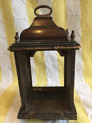 Rare antique Miniature English Fusee / Verge bracket clock case, mahogany,