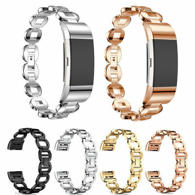 Bling For Fitbit Charge 2 / 2HR Stainless Steel Rhinestone Bracelet WatchBand