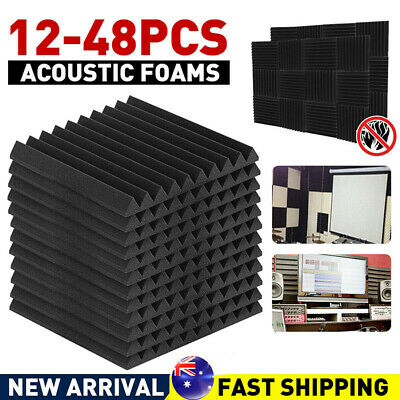 12pcs Black Studio Acoustic Foam Sound Absorbtion Proofing Panel Wedge 30*30cm