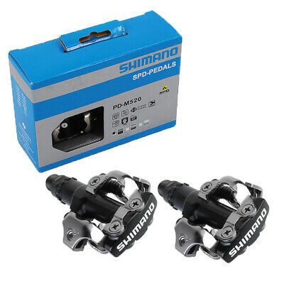 7111b4c0b8e Shimano PD M520 SPD Clipless MTB Pedals with SH51 Cleats Boxed Black Genuine