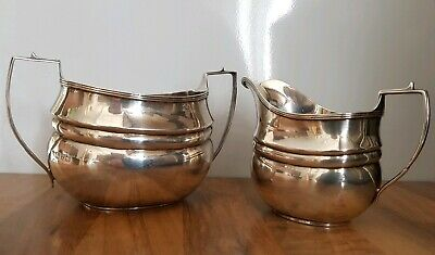 Antique Sterling Silver Sugar Bowl and Milk Creamer Jug, 251g Chester 1912 GN RH