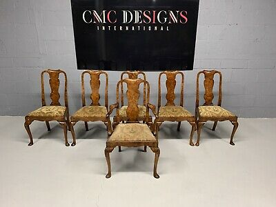 Exquisite very rare set of 6 Burr Walnut dining chairs, Pro French polished
