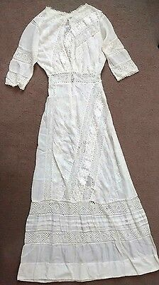 Edwardian White Lace Embroidered Wedding Lawn Tea Dress Antique  Early 1900s