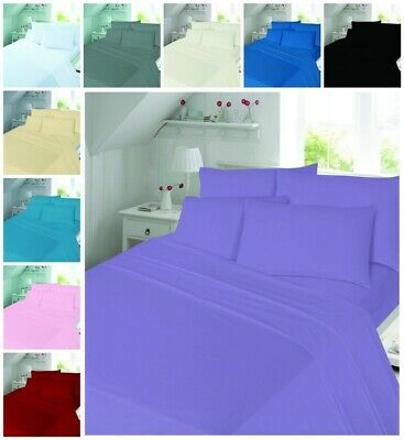 Plain Brushed Cotton Flannelette Duvet Quilt Cover Bedding Set
