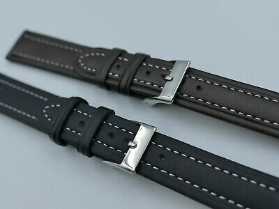 NEW 20mm 18mm strap watchband Smooth Flat (3.8mm) Elegance, White Stitched XL