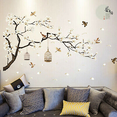 Cherry Blossom Decals Mural Decor White Blossom Tree Branch Wall Art Stickers