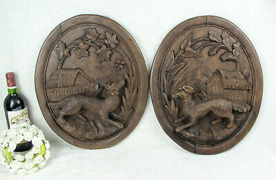 PAIR Antique black forest Wood carved oval plaques panel Dog fox hunting scene