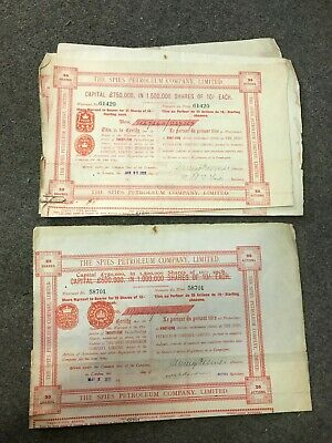 lot de 4 action The Spie Petroleum company Limited 1905 x2 1911 1912