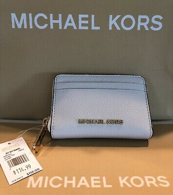 6d24a05355e9 Michael Kors Jet Set Travel Zip Around Card Case Leather Wallet Vanilla NWT