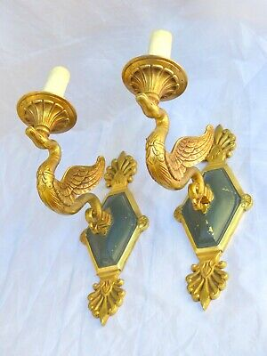 ANTIQUE 2x French Empire Pair Sconces RARE Swans Wall Light Gilded Bronze 1920