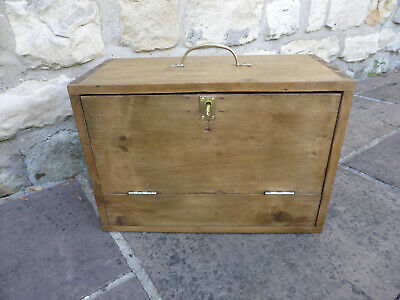 Vintage Rustic Pine With Drop Down Front, Lock + Key. Single Drawer Inside.