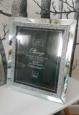 "Mirror and Crystal 8"" x 10"" Picture Photo Frame - Crushed Diamond Crystal Frame"