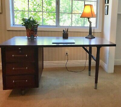 Mid Century Modern Desk Alma Solid Wood Desk 3 Drawers Writing Tray L.A.  Pickup