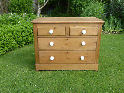 Antique Victorian Stripped Pine Chest Drawers, 2 +2 High. White Pot Knobs