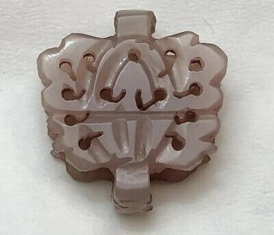 Antique Chinese Carved Mutton Fat Lavender Nephrite Jade Pendant Stunning Detail