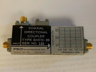 PRD ELECTRONICS S4510-10 RF 2-4GHz Microwave SMA Directional Coupler