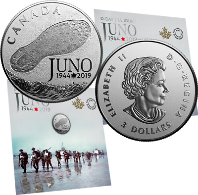1944-2019 D-Day Juno Beach 75th Anniversary Normandy Campaign Silver $3 Coin