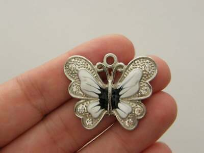 BULK 10 Butterfly charms antique silver tone A333