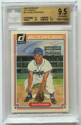 Jackie Robinson 1983 Donruss Hall of Fame Heroes #6 BGS 9.5 BB