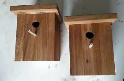 Oak Handmade Bird box x 2  (Blue tits) (Combined postage on more than one Pair)