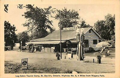 Canada Photo Postcard: Water Pump, Log Cabin Tourist Camp, St. David's Ontario