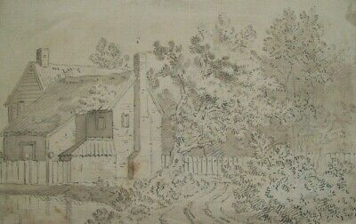 ORIGINAL 18th/19thCENTURY PEN INK & GREY WASH - RUSTIC COTTAGE - NORWICH SCHOOL?
