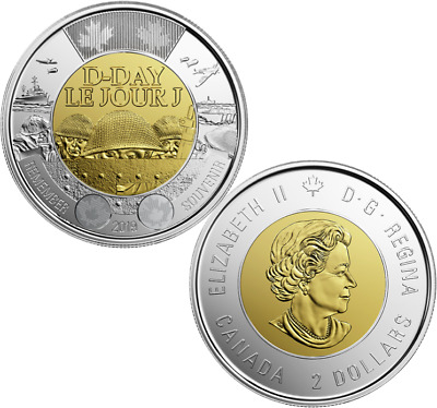 2019 D-Day Juno Beach 75th Anniv Normandy Campaign Toonie $2 Non-Colour Coin