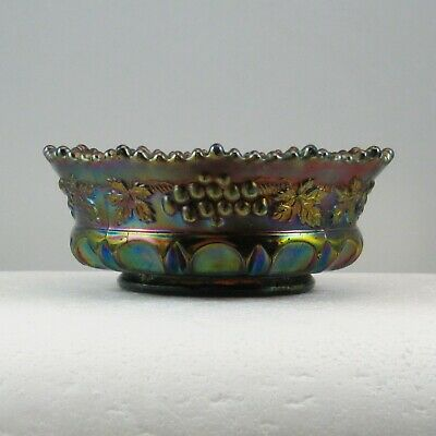 """Northwood Amethyst Grape & Cable Thumbprint Carnival Glass 5"""" Berry Bowl Bw0176C"""