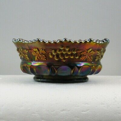 """Northwood Amethyst Grape & Cable Thumbprint Carnival Glass 5"""" Berry Bowl Bw0176D"""