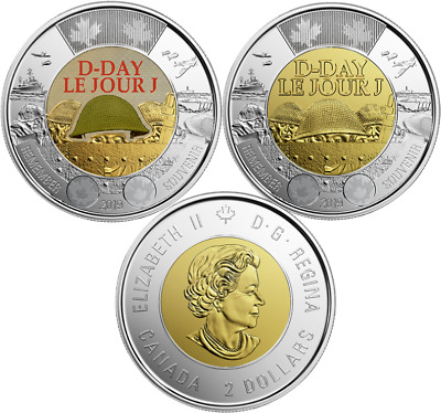 2019 Juno Beach 75th Anniversary Normandy Campaign Toonie $2 Coins D-Day Duo