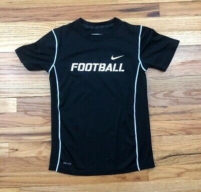 abd87b5a NWT BOYS YOUTH Nike Dri-Fit Black Football Soccer Short Sleeve T ...