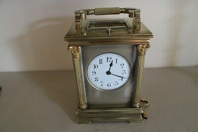 19th century French gilt brass 8 day repeating carriage clock  Hall & Co, Paris'