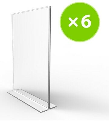 5x7 Inches Acrylic Sign Holder Table Top Menu Display Ad Frame Stand Pack of 6