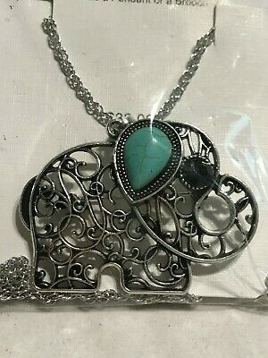 """Filigree Elephant Pendant Necklace or Brooch Turquoise Silver Tone 18"""" Chain"""