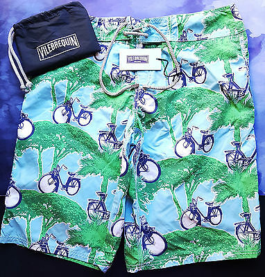 4adc88b14790c Vilebrequin Mens Swimming Surfer Shorts Ocean Motor Bicycle Size M 26/28  Green