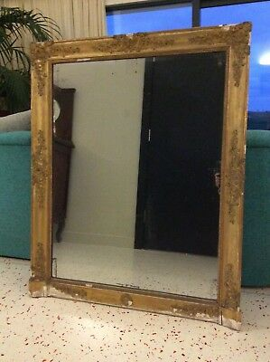 Large Heavy French Mirror Antique Victorian Gold Gilt  Solid Wood  Frame.