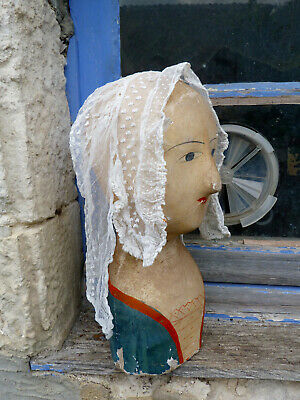 Antique 1890/1900s Victorian French ruffled cream net and lace cap bonnet lady's