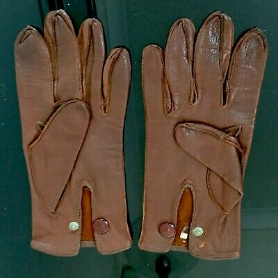 Vintage Dents Fownes London England Mens Brown Leather Driving Gloves