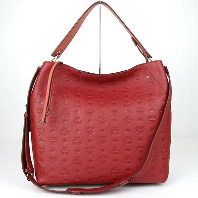 caceb30a0 $765 MCM Klara Ruby Tan Leather Monogram Large Hobo Crossbody Bag  MWH8AKM55RY001