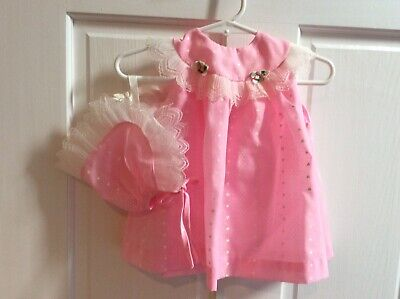 Vintage Baby Girl Size 6-9Months Pink Print Summer Dress With Bonnet