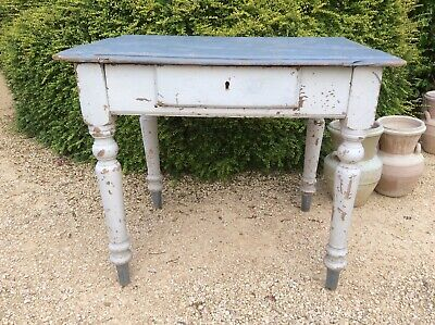 Antique French Table desk with single draw and chippy paint work