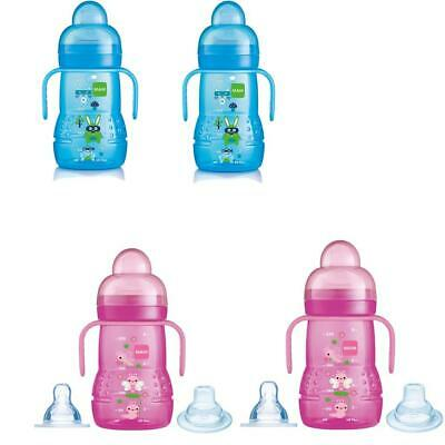 MAM Trainer Cup 2 in 1 Pink/Blue  220ml Double Pack!!