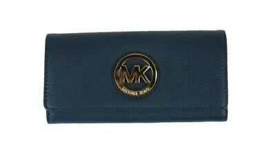 a06b1deaaeaf New Michael Kors Fulton Continental Flap Wallet Leather Navy / Gold  hardware NWT