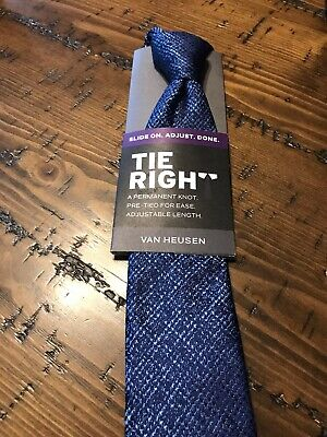 50a19a04ff7f NEW Men's Van Heusen Tie Right Slide On Pre-Tied Neck Tie NWT $45 Blue
