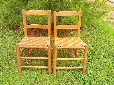 Pair Of Vintage Oak Ladder Back Chairs W/ Woven Cane/Reed Bottom Seat